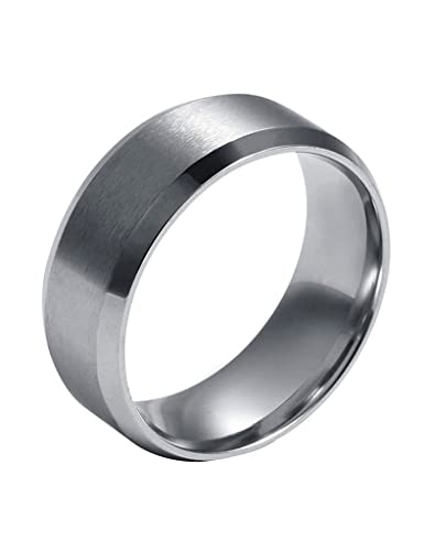 FANSING 8mm Stainless Steel Wedding Bands Rings for Womens Mens