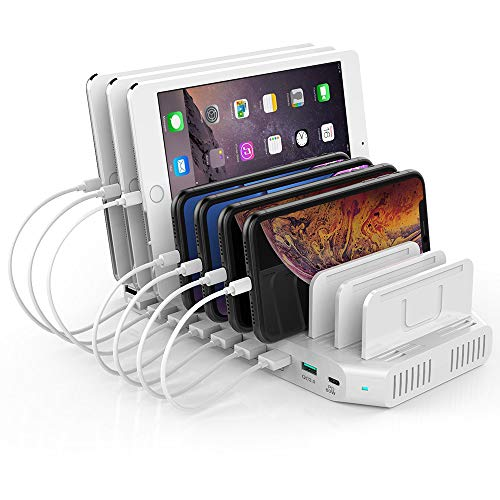 USB C Pd Charging Stations Unitek 160W 10-Port USB Quick Charger Dock, Power Delivery Compatible Laptop MacBook 2015/ Later, Pixel, Nintendo Switch, Support 9 iPad, Upgraded Adjustable Dividers ()