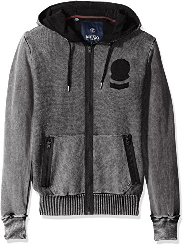 Buffalo David Bitton Men's Walsined Long Sleeve Zip up Hooded Sweater, Agate, Large