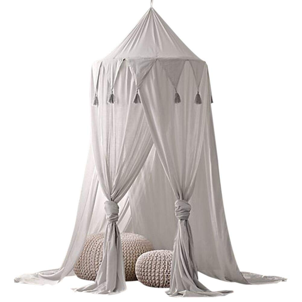 Bed Canopies, Sundlight Kids Chiffon Mosquito Net Triangle Tassel Dream Tent for Kids Castle Playing Reading Game Room Decor
