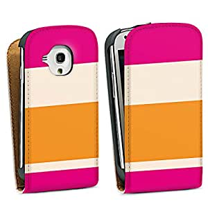 Diseño para Samsung Galaxy S3 Mini I8190 DesignTasche Downflip white - Blockstreifen Pink - Nude - Orange