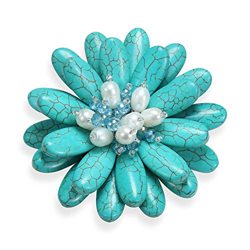 AeraVida Double Sunflower Simulated Turquoise and Cultured Freshwater White Pearl Floral Pin or Brooch