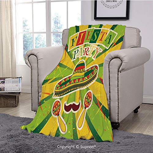 BeeMeng Printing Blanket Coral Plush Super Soft Decorative Throw Blanket,Fiesta,Sprites with Sombrero Maracas Mustache Mexican Hand Drawn Illustration,Green Yellow Vermilion(59