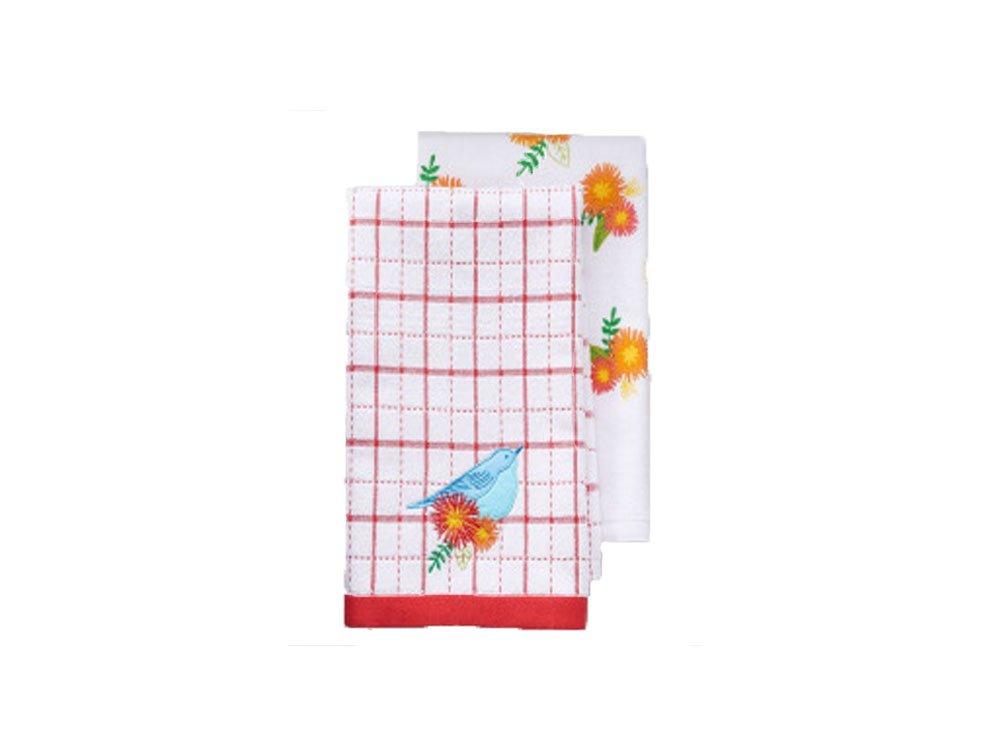 Harvest 2-pc. Bird & Floral Windowpane Kitchen Towel Set