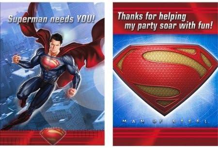 Man of Steel Invitations /& Thank-You Postcards Hallmark 230339 Superman