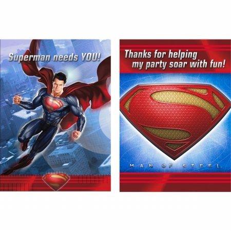 Hallmark 230339 Superman: Man of Steel Invitations & Thank-You (Superman Invitations)
