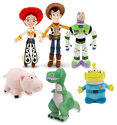 Toy Story Disney Mini Bean Bag Plush Buzz Woody Jessie Rex Alien Hamm Figure Set Collector Toy Bundle -