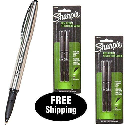 Sharpie Stainless Steel Pen 1800702 with 2 Packs Refills 1800730, Black Ink, Fine Point (1, DESIGN 1)