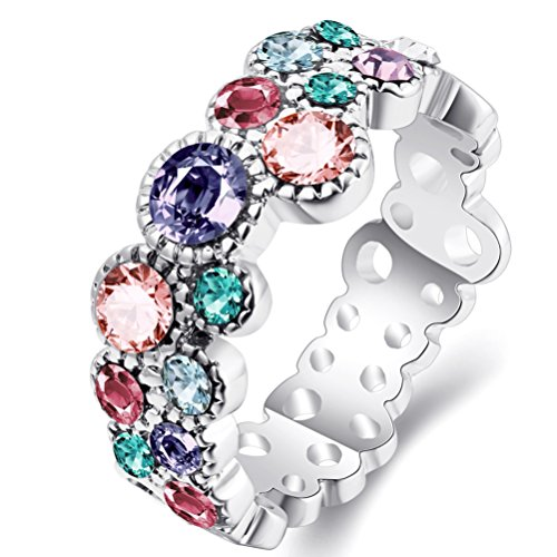 FENDINA Women's 18K White Gold Plated Wedding Engagement Rings Multi-Colored CZ Anniversary Cocktail Band Rings Cute Bubble Fashion Jewelry Rings