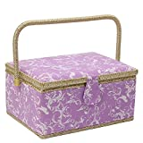 Large Sewing Basket Organizer, Sewing Box with Sewing Kit Accessories/Insert Tray/Handle/Built-in Pincushion/ Interior Pocket - Purple/ White Flower