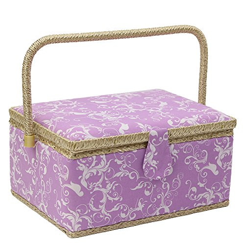D&D Large Sewing Basket with Sewing Kit Accessories, Clas...