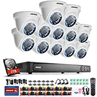 ANNKE 16 Channel 1080P HD-TVI Surveillance DVR and 2TB Hard Drive Pre-installed with 12x 1080P HD 1920TVL Outdoor Fixed Security Cameras