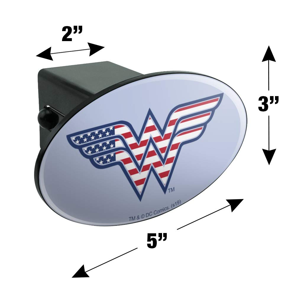 Graphics and More Wonder Woman USA American Flag Logo Oval Tow Hitch Cover Trailer Plug Insert 2