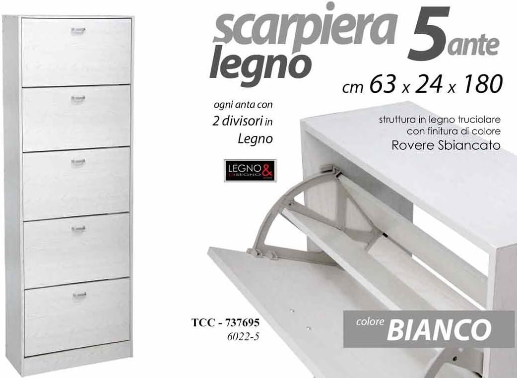Scarpiera 5 Ante Doppia Profondita.Gicos Scarpiera Bianca In Legno Rovere 5 Ante 10 Divisori 63 24