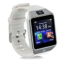 Aipker Bluetooth Smart Watch Phone with Camera SIM TF Card Slot Compatible All Android Smart Phones White