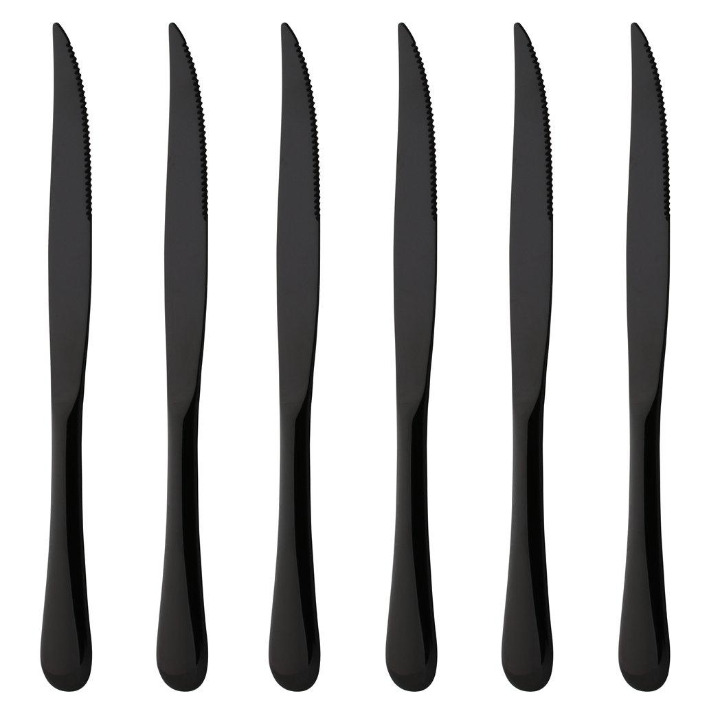Steak Knife Set of 6 Stainless Steel Black Silverware Cutlery Serrated Blade Heavy Duty Steak Knives Dishwasher Safe