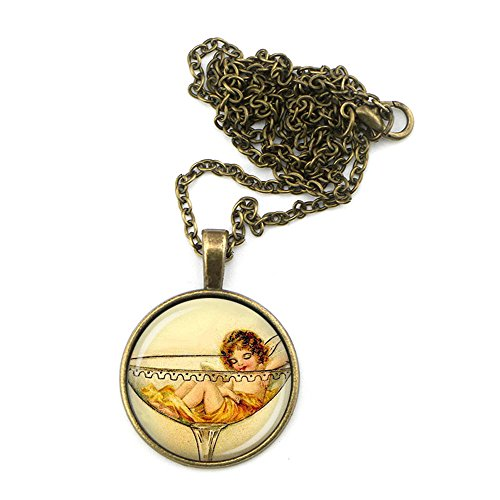 Prefen The Fairy in Cocktail Glass Necklace - Fairy and Wine Lovers