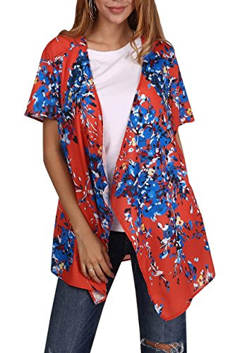 Silk Coat Floral (Geckatte Womens Summer Short Sleeve Floral Sheer Chiffon Open Front Kimono Cardigan Blouse Top (XX-Large, Red))