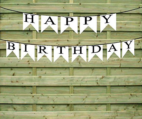Happy Birthday Black and White Paper Garland Bunting Party Decoration Banner