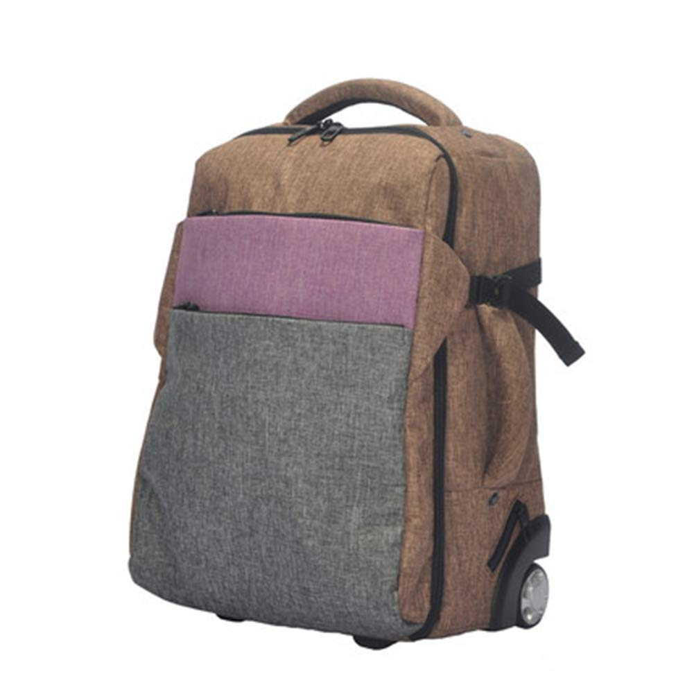 Flight Case Backpack Trolley Car Luggage Laptop Compartment, Hybrid Hand Luggage Wheel Trolley/Convertible Leisure Backpack and Daily Bag (Canvas).-D,19inch