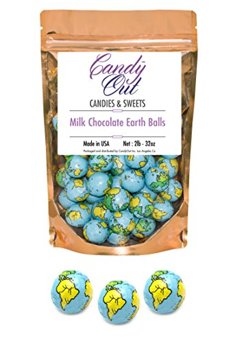 CandyOut Chocolate Earth Balls 2 Pound - Foil Wrapped Chocolate Candy in Sealed Bag ()