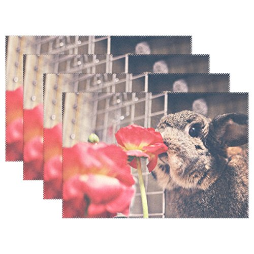 Rabbit Cute Kiss The Flowers Non-slip Placemats for Dining Table Kitchen Indoor Outdoor Hotel Table Placemats Heat Resistant Washable Stain-resistant Table Mats Place Mats set of 1