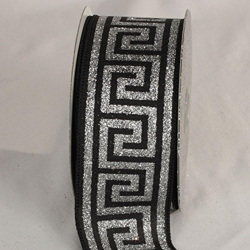 The Ribbon People Silver and Midnight Black Greek Key Wired Craft Ribbon 2.5'' x 20 Yards by The Ribbon People (Image #1)