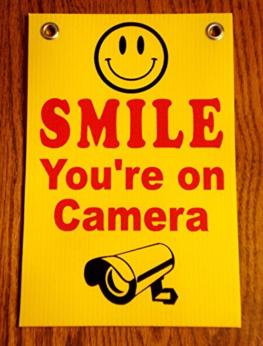 1 Pc Sublime Popular Smile You're On Camera Security Signs CCTV Warning Surveillance 24Hr Protection Size 8