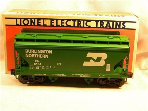 (Lionel 6134 Burlington Northern Standard O 2 Bay Hopper Diecast Sprung Trucks Mint in Original Box Was Only Available Through Lionel By Advance Mail Order in 1986)