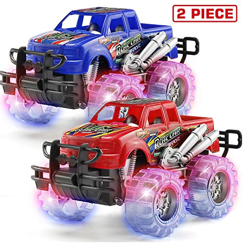 2 Pack Light Up Monster Truck Car Toy with Beautiful Flashing LED Tires, Best Birthday Gift for Boy Girl Ages 3+, Push n Go Cars, Friction Toy, Race Truck Car for Kid Party Favors and Daily Play (Girls Monster Trucks Toys)