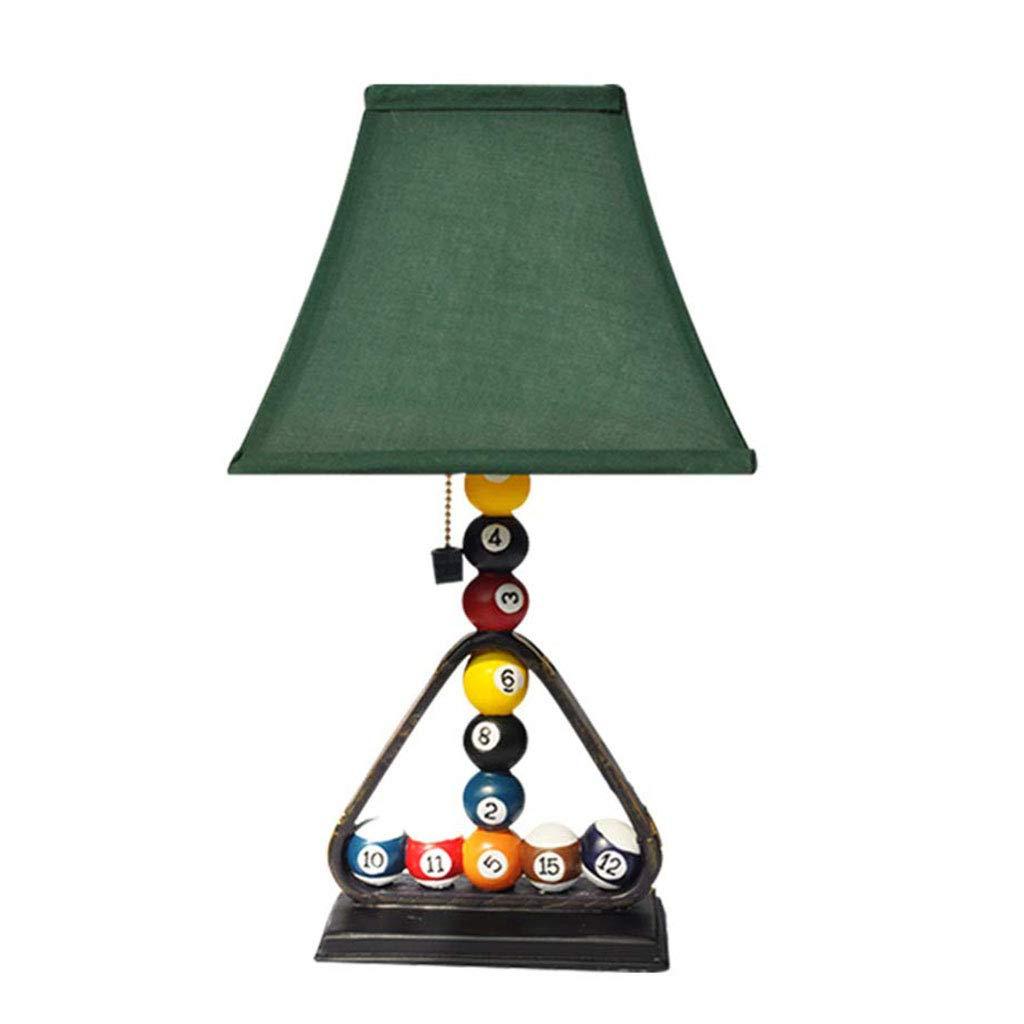 クリエイティブテーブルランプ、ビリヤードボールデザインのデスクライト、銅製プルスイッチ付きナイトライト、グリーンファブリックシェード付きの暖かい照明
