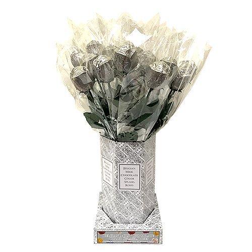 Valentine Gift Silver Foiled Belgian Milk Chocolate Color Splash Long Stem Rose Bouquet - Pack of 20