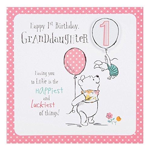 Hallmark Disney Baby Winnie 1st Birthday Granddaughter Card Love - Medium (1st Birthday Postage)