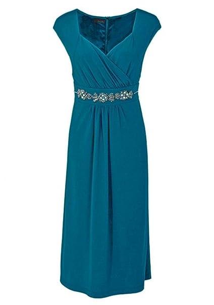 Vestido de mujer para vestido de noche con perlas, color azul petróleo 56