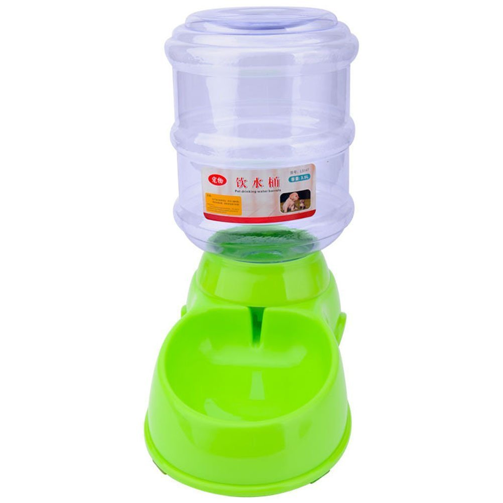 Puppy Cat Dog Pet Auto Feeder Water Bottle Food Bowl Portion Control 3 style (Water Dispenser, green) by Ciguo (Image #1)