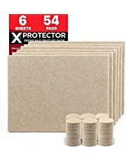 Furniture Pads X-PROTECTOR - 6 Felt Sheets 20x16cm & 54 Felt Pads 25mm - Premium Felt Furniture Pads Heavy Duty 5 mm Floor Protectors – Cut Foot Pads You Need – Protect Your Wood Floors!