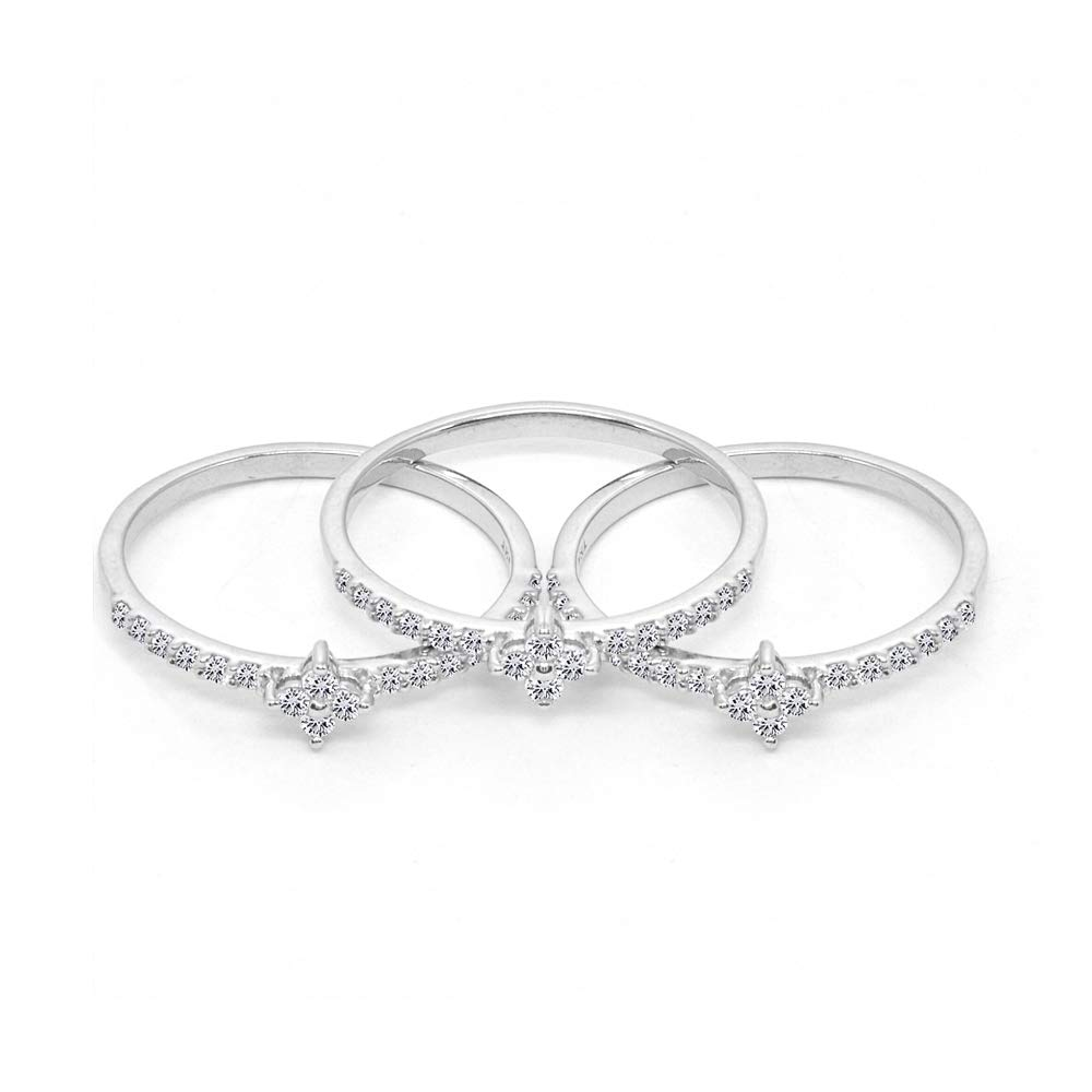 Sterling Silver Cubic Zirconia Round Stackable Band Rings Set of 3