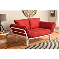 White Metal Frame Small Futon Lounger Furniture for Studio Loft College Dorm Apartments Guest Room Bedroom Covered Patio Sunroom or Porch-Twin Size