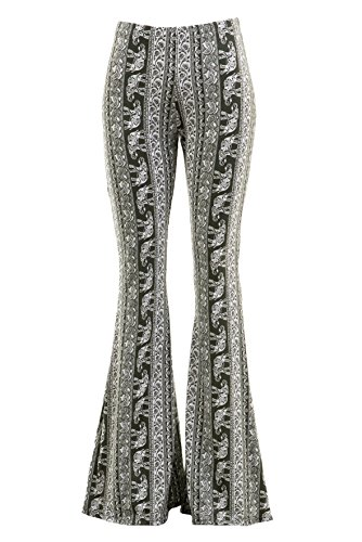 Fashionomics Womens Boho Comfy Stretchy Bell Bottom Flare Pants (S, - Bell Bottom Door