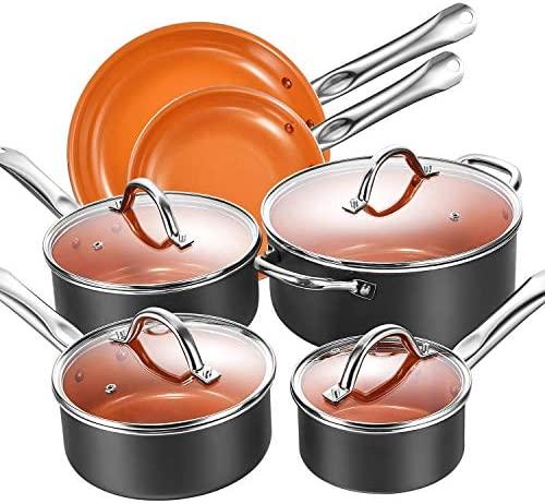 Cookware Set, Aicook 10-Piece Non Stick Induction Cookware, Copper Pots and Pans Set with Stainless Steel Induction Bottom, Dishwasher and Oven Safe