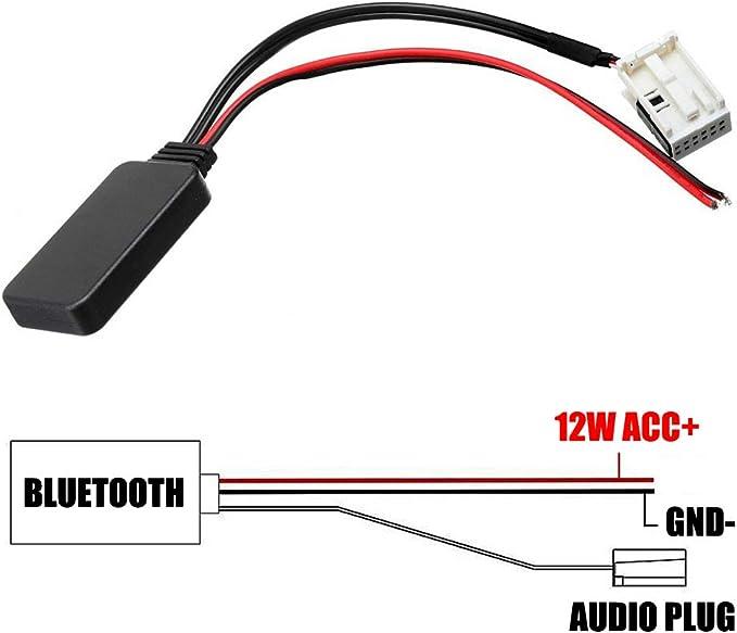Semine Module Bluetooth Aux C/âble Adaptateur St/ér/éo sans Fil pour Peugeot 207 307 407 308