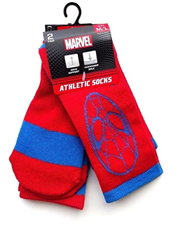 Marvel Youth 2 Pairs/Pack Athletic Spiderman Crew Socks (Youth Small/Youth Medium)