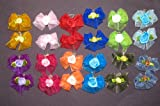 24 Dog Hair Bows – Double Layered with Center Rose Decorations – 12 Pairs of Different Colors- Handmade, My Pet Supplies