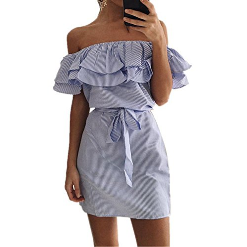Efanr Sexy Women's Off Shoulder Ruffle Butterfly Sleeve Striped Dress with Belt