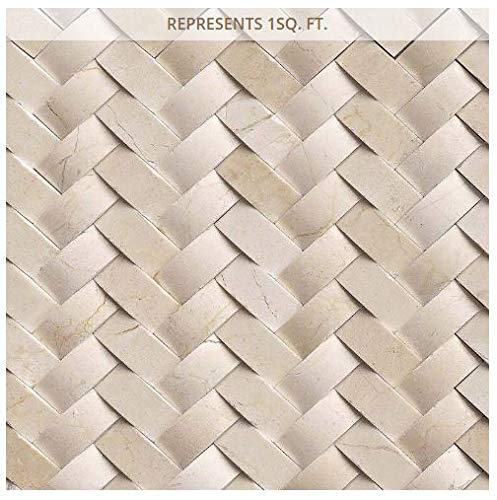 Crema Wall (Crema Arched Herringbone 12 in. x 12 in. x 10 mm Polished Marble Mesh-Mounted Mosaic Wall Tile)