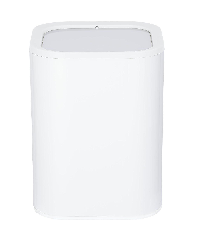 Wenko Pattumiera con coperchio basculante, Oria Pattumiera con coperchio basculante capacità 7L, acrilico, bianco, 19.5x 19.5x 25cm 23224100