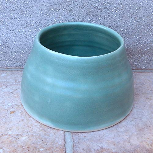 Spaniel dog water food bowl long ears eared handthrown in stoneware handmade pottery wheel thrown ceramic