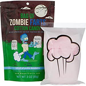 Bag of Farts Cotton Candy Funny for All Ages Unique Birthday Gag Gift for Friends, Mom, Dad, Birthday Girl, Boy Grandson Granddaughter Present Easter Basket Fun (Zombie)