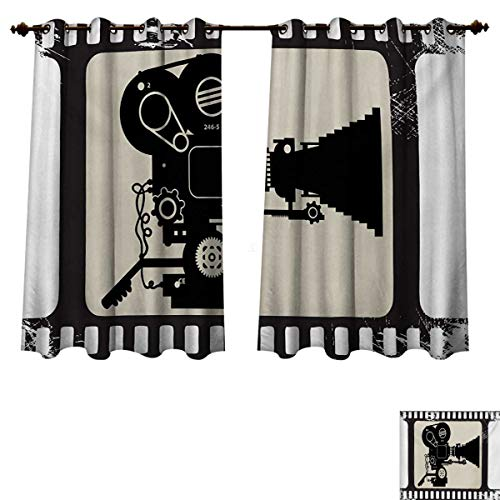 (Movie Theater Blackout Curtains Panels for Bedroom Movie Frame Pattern with Silhouette of Movie Reels in a Projector Decorative Curtains for Living Room Dark Taupe Beige Black W63 x L72 inch)