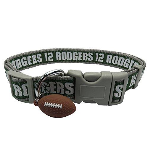 NFLPA Dog Collar - Aaron Rodgers #12 Pet Collar - NFL Green Bay Packers Adjustable Dog Collar, Medium